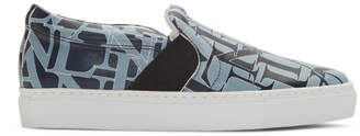 Lanvin Navy and Blue Logo Slip-On Sneakers