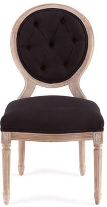 Vince Two Black Linen Dining Chairs