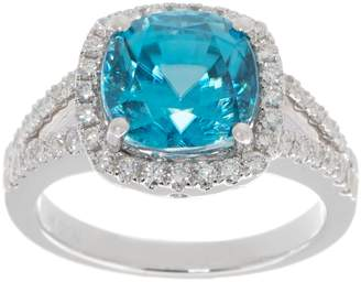 Cushion Cut Blue Zircon & Diamond Ring, 14K, 4.50 cttw