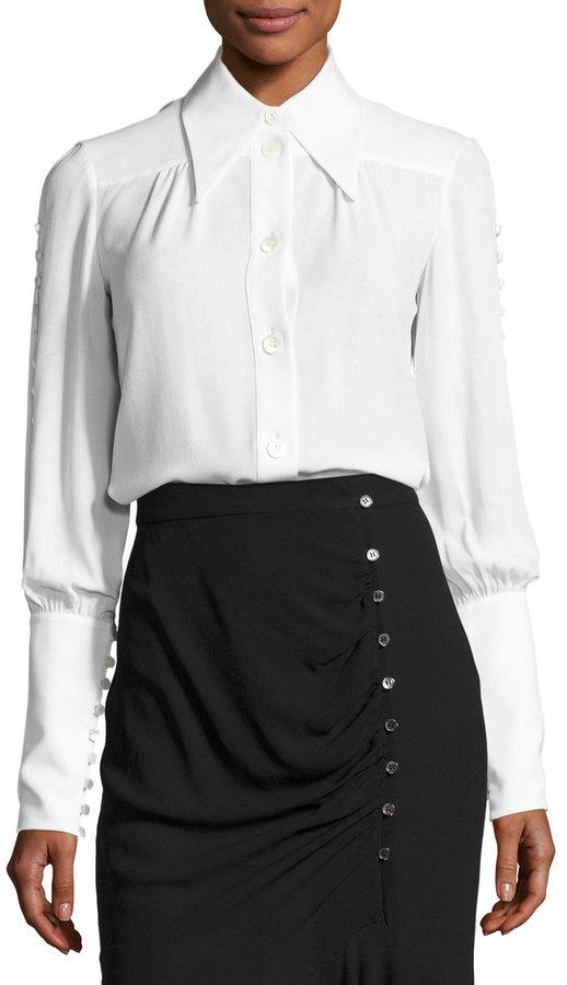 MICHAEL Michael KorsMichael Kors Button-Detail Silk Blouse, White