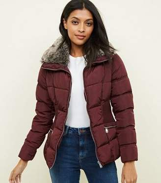 New Look Burgundy Faux-Fur Collar Cinched Waist Puffer Jacket