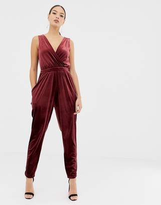 35d11a3c52a Asos Design DESIGN sleeveless wrap jumpsuit in velvet