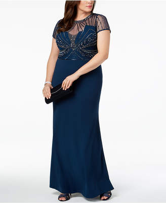 Adrianna Papell Plus Size Embellished Illusion Gown