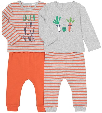 La Redoute COLLECTIONS Pack of 2 Cotton Vegetable Print/Slogan Pyjamas, 3 Months-4 Years