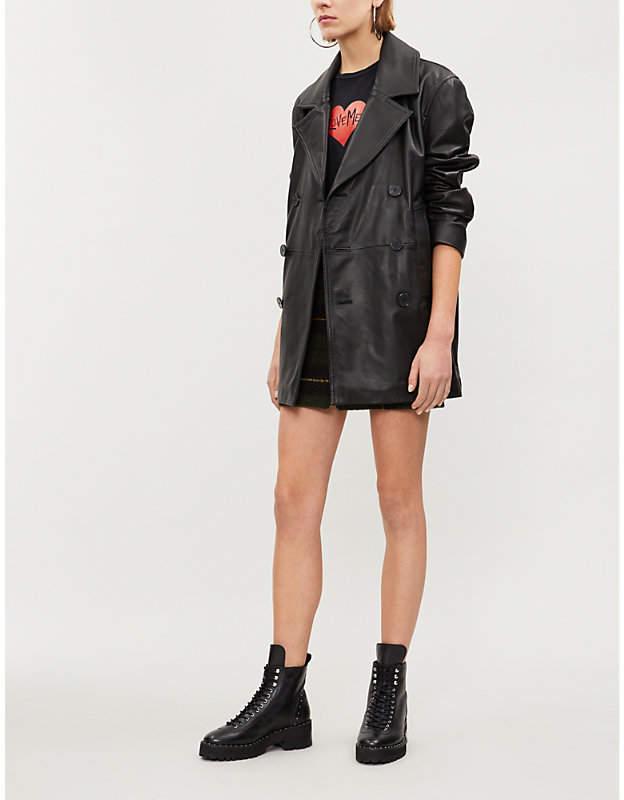 Reefer leather jacket