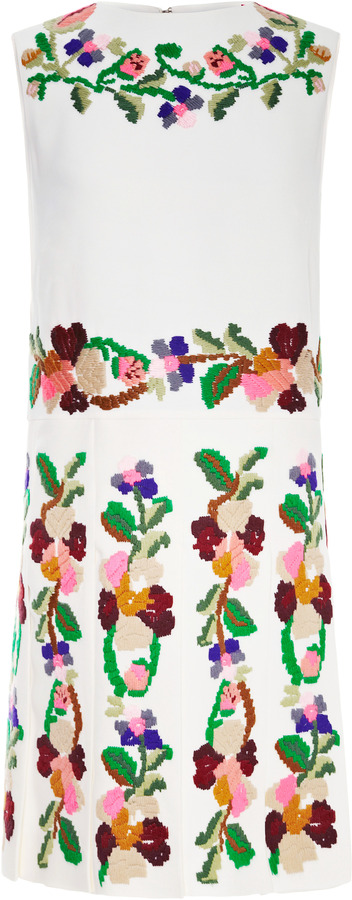 Valentino Embroidered Pleated Cady Dress