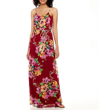 DQT True Color Sleeveless Spaghetti-Strap Blouson Maxi Dress - Tall $60 thestylecure.com