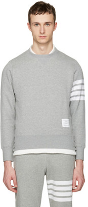 Thom Browne Grey Classic Four Bar Pullover $530 thestylecure.com