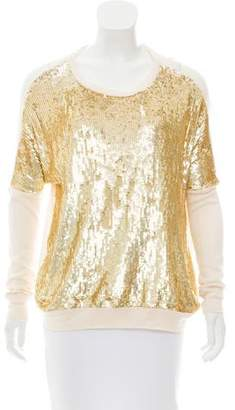 Haute Hippie Sequin-Embellished Rib Knit Sweater w/ Tags