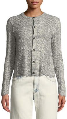 Marc Jacobs Button-Front Cross-Stitched Long-Sleeve Cashmere-Blend Cardigan