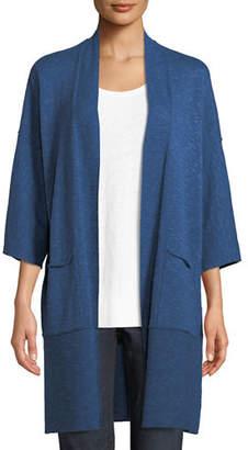Eileen Fisher Heathered Linen-Blend Kimono-Sleeve Cardigan