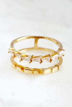 Crystal Gold Double Band Ring