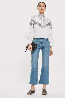 Topshop Moto mid blue dree cropped jeans