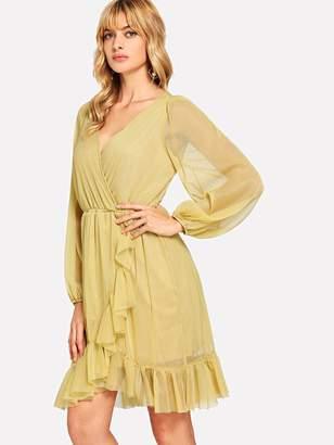 Shein Ruffle Detail Bishop Sleeve Wrap Dress