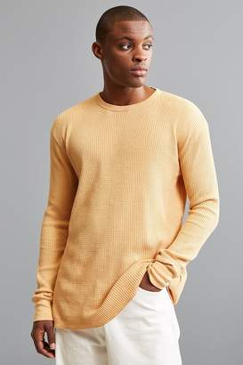 Urban Outfitters Cream Waffle Thermal Crew Long Sleeve Tee