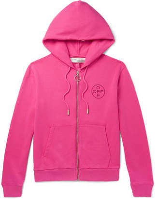 Off-White Off White Embellished Loopback Cotton-Jersey Zip-Up Hoodie - Men - Bright pink