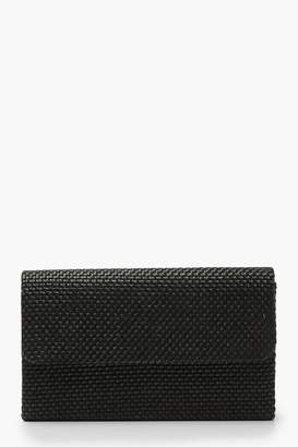 boohoo Raffia Straw Structured Clutch & Chain