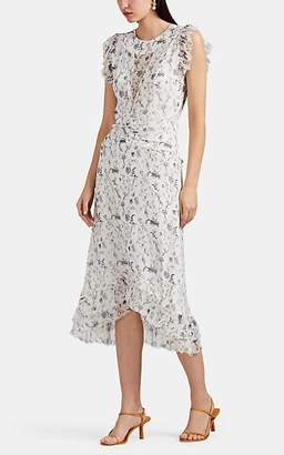 SIR The Label Women's Posey Floral Silk Midi-Dress - White