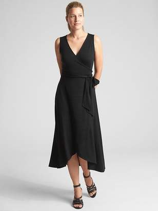 Gap Softspun Sleeveless Wrap Midi Dress