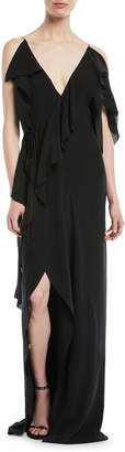 Thierry Mugler V-Neck Sleeveless Asymmetric Ruffled Silk Evening Gown