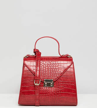 Glamorous red faux croc cross body bag