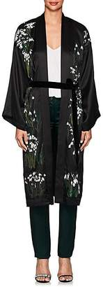 Helena Alice Archer Women's Floral Silk Long Kimono - Black