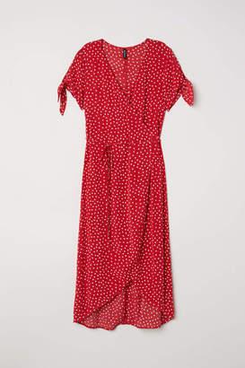 H&M Creped Wrap-front Dress - Antique rose/floral - Women