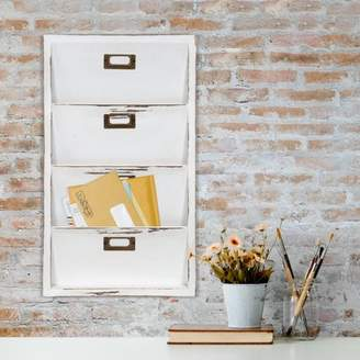 Gallery Solutions Distressed White Wall Mail Organizer Letter Bin