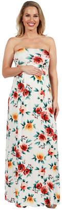 24/7 Comfort Apparel 24Seven Comfort Apparel Lindsey Strapless Empire Waist Maternity Maxi Dress