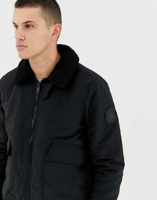 Burton Menswear fleece collar puffer jacket in black
