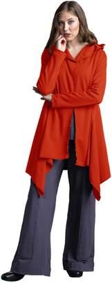 Neon Buddha Women's Cotton Cardigan Female Loose Fit Jacket with Stylish Asymmetric Hems and Hoody
