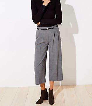 LOFT Petite Belted High Waist Wide Leg Crop Pants