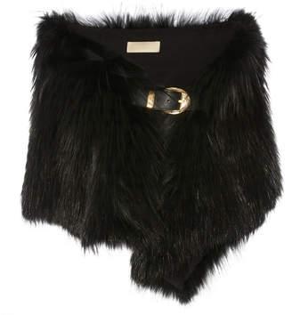 Elie Saab Leather-Trimmed Fur Stole