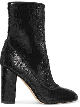 Sam Edelman - Calexa Sequined Stretch-twill Sock Boots - Black
