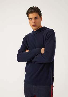 Emporio Armani Virgin Wool And Single-Jersey Cashmere Sweater With Hood