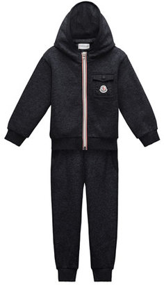 Moncler Hooded Zip-Front Track Jacket w/ Pants, Navy, Size 4-6 $225 thestylecure.com