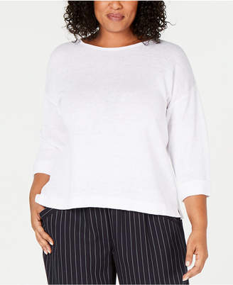 Eileen Fisher Plus Size Organic Linen Cuffed-Sleeve Top
