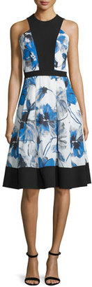 Carmen Marc Valvo Floral-Print Illusion-Bodice Sleeveless Cocktail Dress $650 thestylecure.com