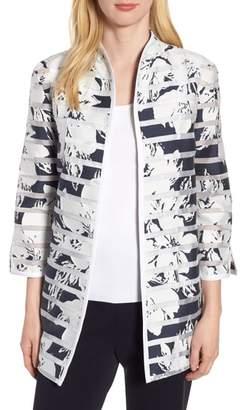 Ming Wang Floral Stripe Jacket