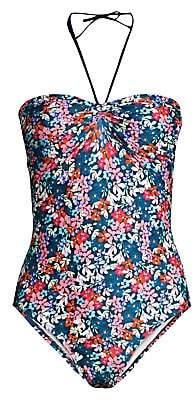 Shoshanna Women's Multi Floral Halterneck One-Piece Swimsuit