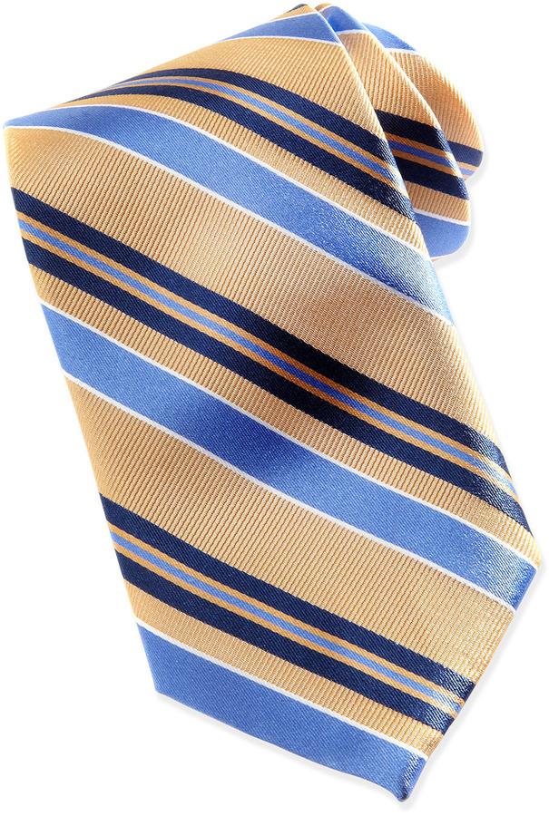 Neiman Marcus Bias-Stripe Silk Tie in Box, Gold