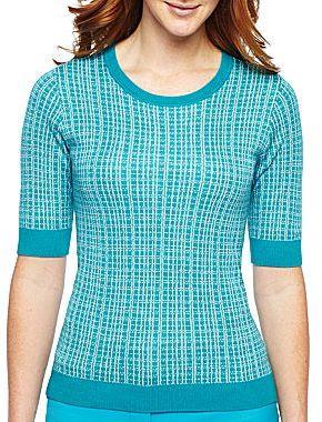 Liz Claiborne Elbow-Sleeve Scoopneck Sweater