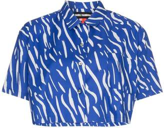 Double Rainbouu Sound Wave printed cropped cotton shirt