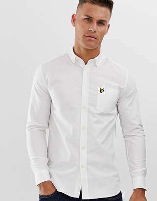 Lyle & Scott logo long sleeve oxford shirt in white