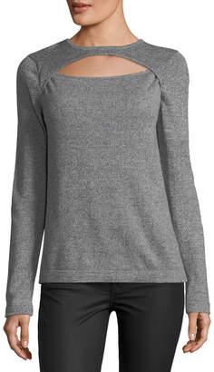 Quinn Keyhole Pullover Sweater , Gray-Black