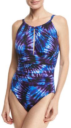 Magicsuit Katrina High-Neck Tie-Dye One-Piece Swimsuit, Purple, Plus Size $186 thestylecure.com