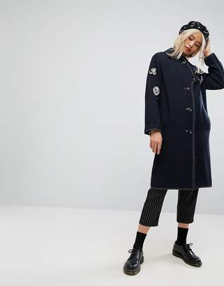 Asos DESIGN Coat with Military Badges