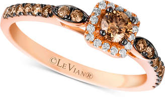 LeVian Le Vian Chocolatier Diamond Square Halo Ring (1/2 ct. t.w.) in 14k Rose Gold