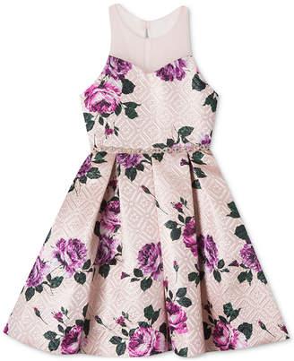 Rare Editions Big Girls Brocade Floral-Print Illusion-Neck Dress