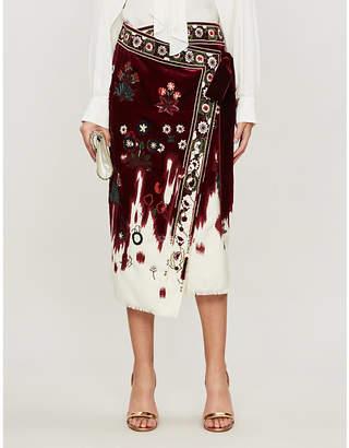 Oscar de la Renta Floral-embellished wool midi skirt